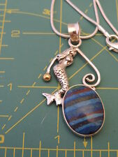 """925 Sterling Silver Mermaid Pendant 24"""" Chain Necklace Calsilica 4b 42"""