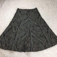 Kenneth Cole Womens Skirt 2 Flare A Line Black Beige Zebra Striped Cotton Midi