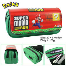 Super Mario Bros Run Stationery Bag Double Zipper Pencil Case Cosmetic Bags