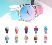 Fashion Ladies Women Two Colour Rainbow Band Ladies Analog Quartz Wrist Watch d