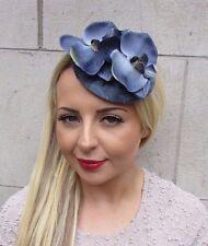 Dark Blue Grey Orchid Flower Fascinator Hat Races Headpiece Hair Clip Vtg 3163