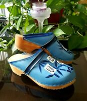 Swedish Clogs Hand Painted Leather and Wood Shoe Slip On Blue Women's 7