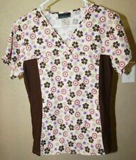 Cherokee S brown multi color floral print v neck short sleeve scrub top very nic