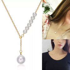 Korean Classic Design with Imitation Pearl Long Chain Drop Pendant Necklace