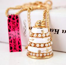 Enamel Betsey Johnson Jewelry Pendant Multi-layer cake Rhinestone Chain Necklace