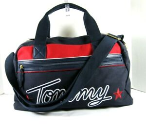 Tommy Hilfiger Weekender Duffel Tote Large Navy Red Zip Crossbody Embroidered X