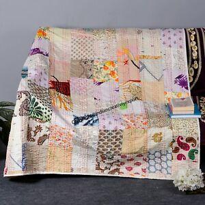 Indian Kantha Quilt Handmade Silk Throw Bedspread Vintage White Patchwork Twin