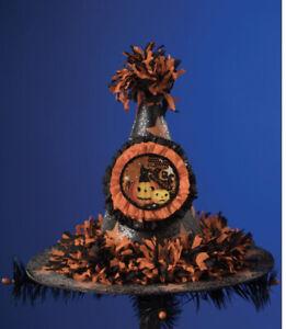 Bethany Lowe Halloween Vintage Stars Witch Hat W/Black Cat & JOLs—Retired