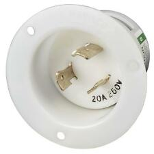 Marinco 206FI Locking Flanged Inlet 20A 250V 2P 3W NEMA L6-20R White Body  HRC-5