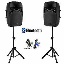 Vonyx 1000W 15in PA System Pair of Speakers with Microphone and Stands