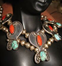 NAVAJO OLD NECKLACE CHOKER-HandMade Sterling Silver Beads Pearls,Turquoise,Coral