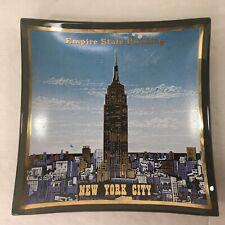 Vintage NEW YORK CITY NYC Empire State Building Glass Souvenir Trinket Dish