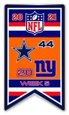 2021 Semaine 5 Bannière Broche NFL Dallas Cowboys Vs. N.y. New York Giants Super