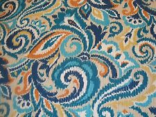 """One Yard BRYANT TRADITIONS OUTDOOR FABRIC SALADINO Teal 54"""" x 36"""" BTY (22 left)"""