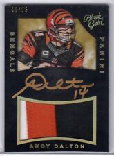 2015 Black Gold Andy Dalton On Card Auto 3 Color Jersey /25 Bengals