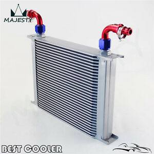 Universal 30 Row AN10 Engine Transmission Oil Cooler w/ Fittings Kit Silver