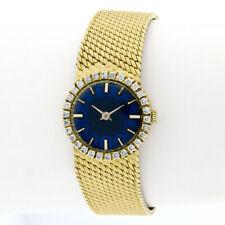 Vintage French 18k Gold Blue Enamel Dial Hand Wind Watch w 50ctw Diamond Bezel