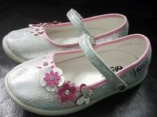 Naturino Express Sofia Silver and Pink flowers Mary Jane Flats toddler size 9
