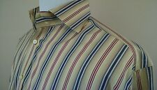 Tailorbyrd Men's Striped Cotton Dress Shirt English Cutaway Collar size L Large