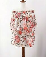 Show Me Your Mumu Size XL Womens Floral Blouse Off Shoulder Roses Pink White