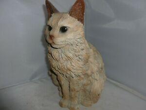 BRAND NEW WOODEN LIFE SITTING CAT GARDEN ORNAMENT