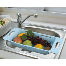 3PCS Sink Drain Basket Strainer Dish Drying Rack Kitchen Shelf Fruit Adjustable
