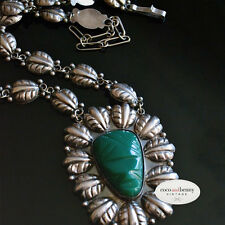 *Vintage Mid Century MEXICAN Repousse Green Stone Mask 850 Silver Necklace