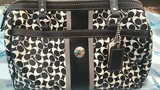COACH CHELSEA SIGNATURE PVC STRIPE BLACK WHITE STRIPE SATCHEL HANDBAG F15132