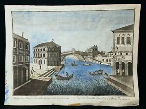 Antique 18th Century Color Engraving Prison of Venice Italy
