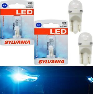 Sylvania LED Light 194 T10 Blue 10000K Two Bulbs License Plate Tag Replace Fit