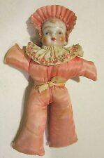 "Vint 8.5"" china head w pink taffeta body pin-cushion or doll toy w wrist strap"