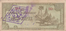 1/2 RUPEE FINE BANKNOTE FROM JAPANESE OCCUPIED BURMA 1942 WITH  RARE STAMPS