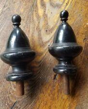 "Pair finials antique black finish ornate wooden 5"""
