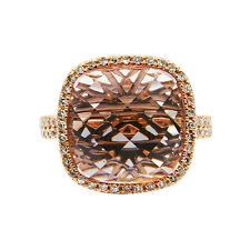 14K ROSE GOLD PAVE DIAMOND 9.95C PINK AMETHYST COCKTAIL ENGAGEMENT HALO RING