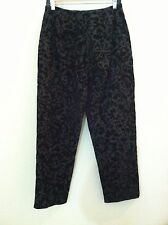 New Sharon Endick Kate womens pant black gray velvet print side zip size 8