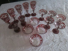 LOT 16 VINTAGE CRANBERRY FLASHED GLASS STEMWARE BOWLS CHAMPAGNES TUMBLERS DEER