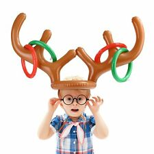 Inflatable Reindeer Christmas Hat Antler Ring Toss Holiday Party Xmas Game Toys