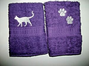 CAT & PAW PRINT EMBROIDERED,PURPLE FACE CLOTHS, 2 PC SET,  BENEFITS Pets in need