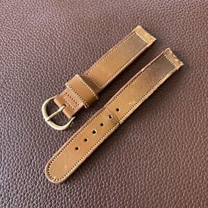 Original 40's Bulova Tan Leather Watch Band 14mm Gold Filled Buckle MI48
