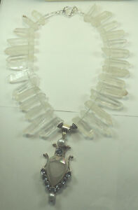 Statement Raw  Quartz Necklace Druzy Blue Topaz & Pearl Sterling Silver Wedding