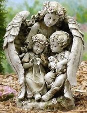 """16"""" Guardian Angel Cherub with Children Boy Girl Outdoor Garden Statue 47625"""