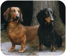 MOUSE PAD--Smooth DACHSHUNDS on Path-Polyester Front Neoprene Back **Beautiful**