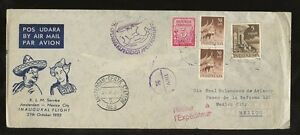 INDONESIA MEXICO FIRST FLIGHT KLM 1952 ILLUSTRATED RETURNED DUTCH EAST INDIES