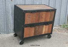 Vintage Industrial Style File Cabinet. Filing. Mid Century. Reclaimed Wood.