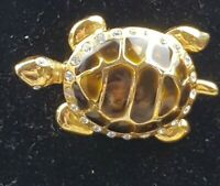 Vintage Turtle Enamel & Rhinestone Goldtone Brooch Cute statement piece