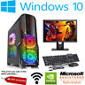 Fast Gaming PC Computer Bundle Monitor i5 Quad Core 8GB 1TB Win 10 2GB GT710 WOW
