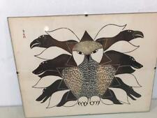 "VINTAGE CALENDAR ART PRINT BY KENOJUAK ""OWL, RAVENS AND DOGS"" APRIL 1967 ESKIMO"