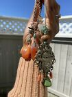 4 Antique Chinese Qing dynasty Amulet Pendant Chatelaine Qing Silver Jade More