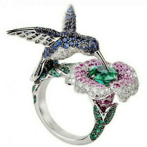 6.5 ct Green&Blue&Pink Sapphire Hummingbird Silver Wedding Ring Size 67 8910