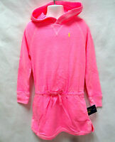 POLO Ralph Lauren Girls PONY pink cotoon french terry hooded dress tunic 5 NEW